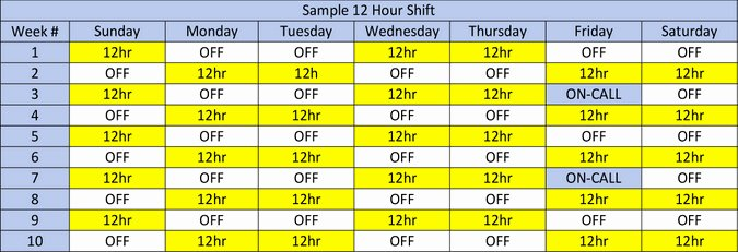 12 Hour Nursing Schedule Template Elegant Field Shift Schedules Ems