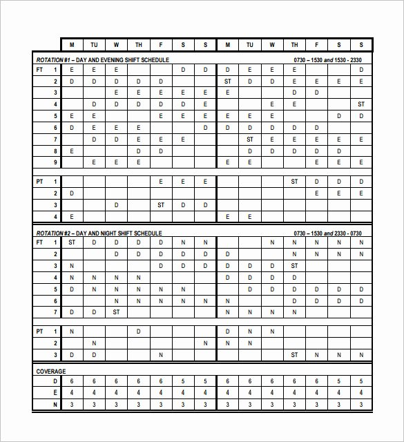 12 Hour Nursing Schedule Template Fresh 17 Rotating Rotation Shift Schedule Templates Doc