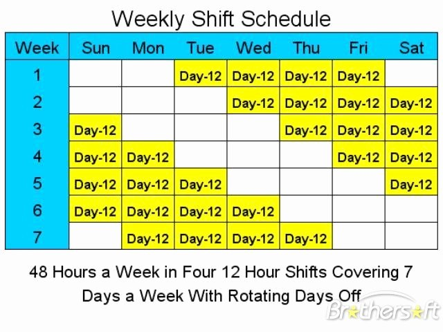 12 Hour Nursing Schedule Template Luxury Download Free 12 Hour Schedules for 7 Days A Week 12 Hour