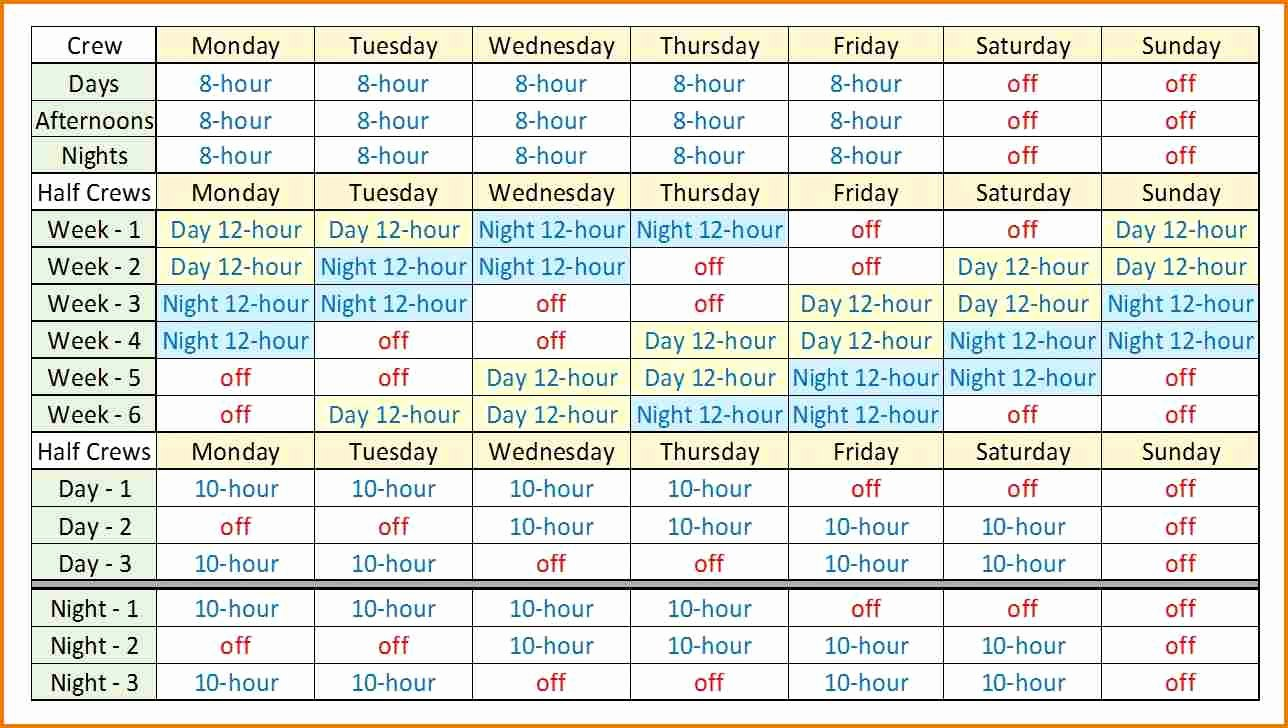 12 Hour Shift Schedule Template Beautiful 8 Hour Rotating Shift Schedules Examples