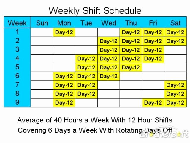 12 Hour Shift Schedule Template Lovely Download Free 12 Hour Schedules for 6 Days A Week 12 Hour