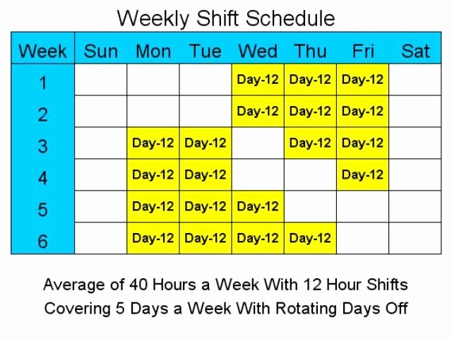 12 Hour Shift Schedule Template Luxury 12 Hour Schedules for 5 Days A Week Standaloneinstaller