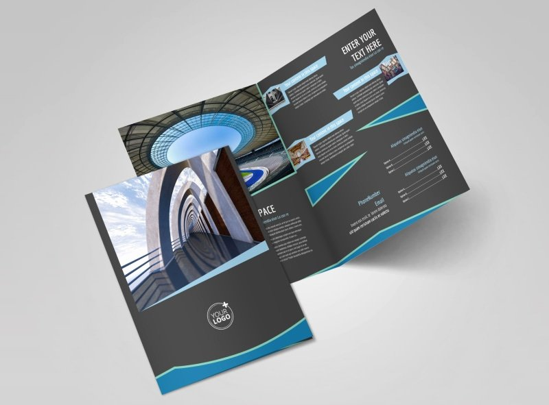 2 Fold Brochure Template Awesome Architecture & Design Firm Bi Fold Brochure Template