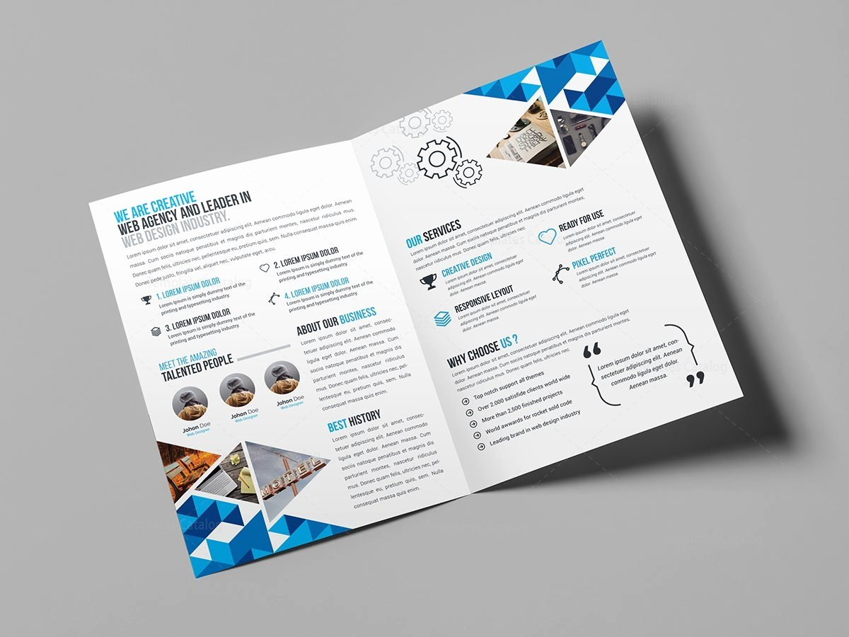 2 Fold Brochure Template Elegant Blue Diamond Bi Fold Brochure Template Template
