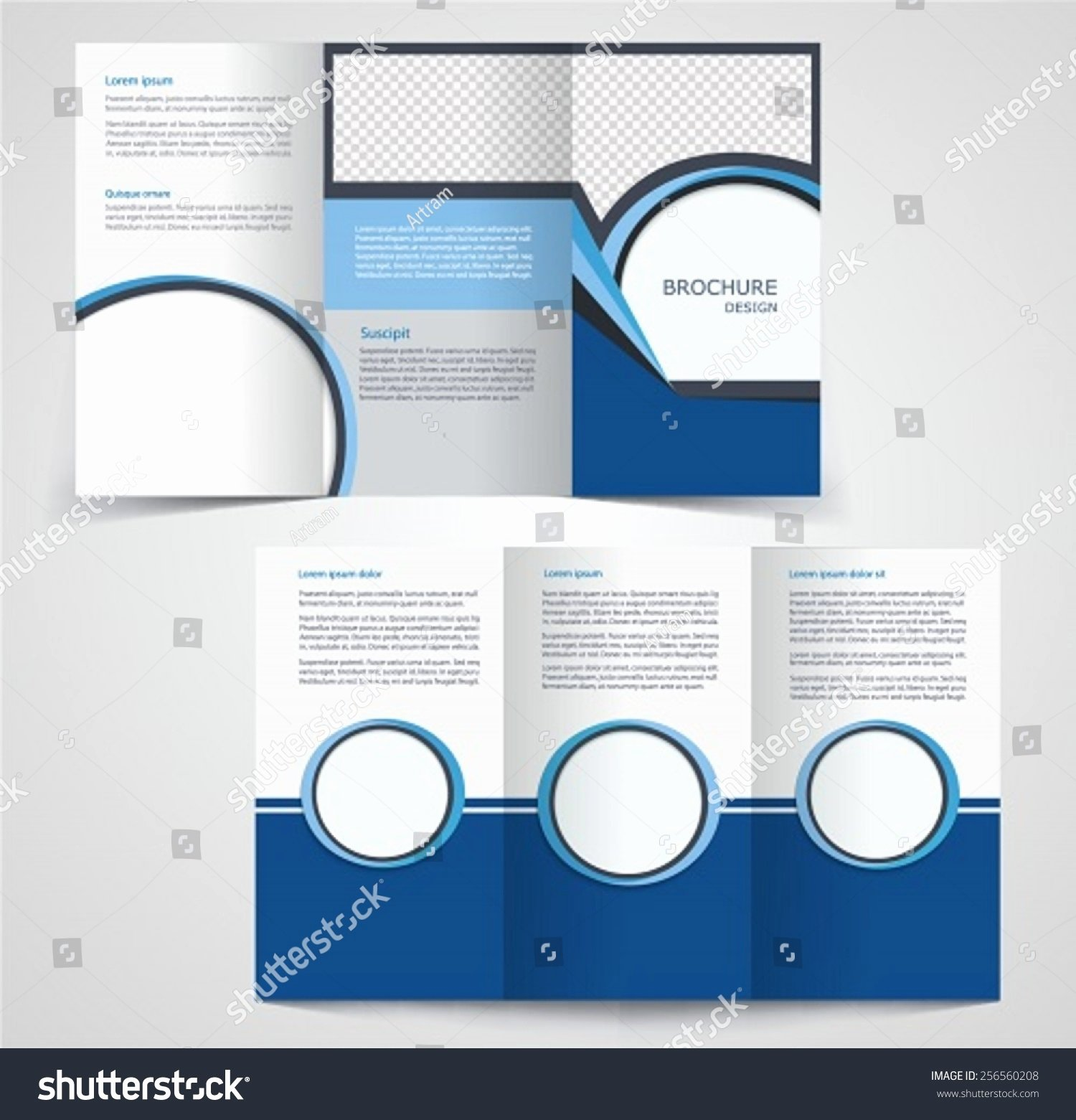 2 Fold Brochure Template Luxury Trifold Business Brochure Template Twosided Template Stock