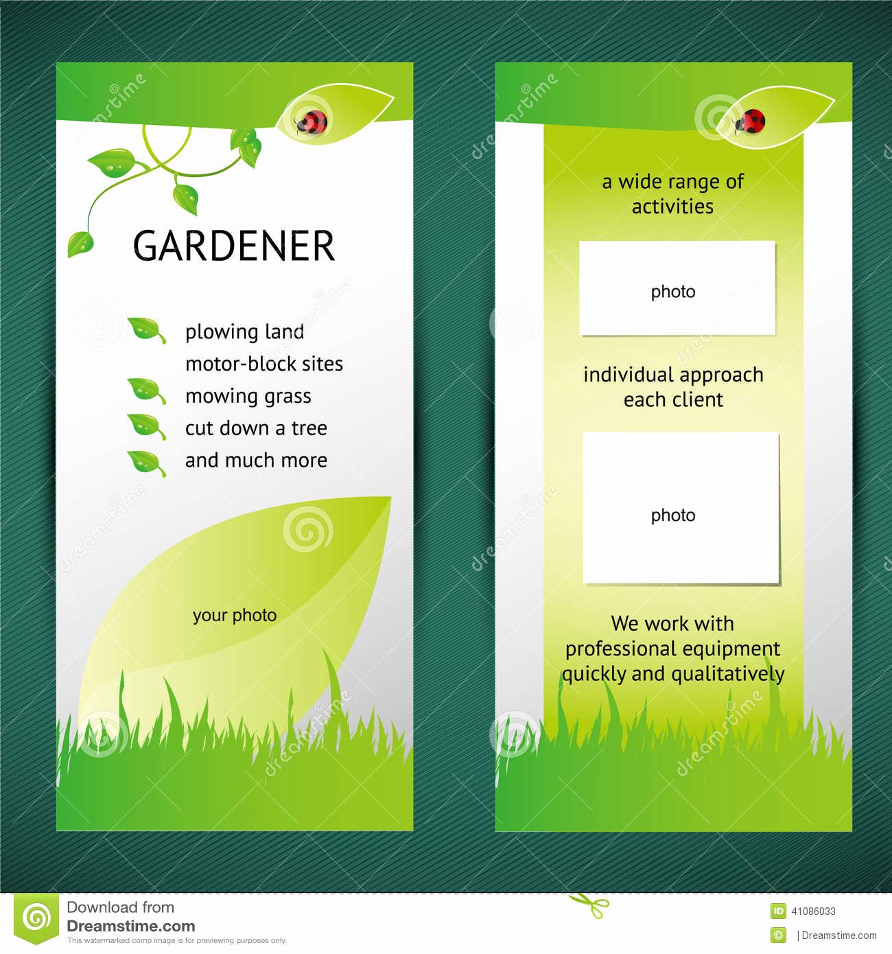 2 Folded Brochure Template Elegant Green Flyer Stock Illustration Illustration Of Flyer