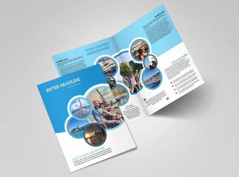 2 Folded Brochure Template Luxury Yacht tour Brochure Template