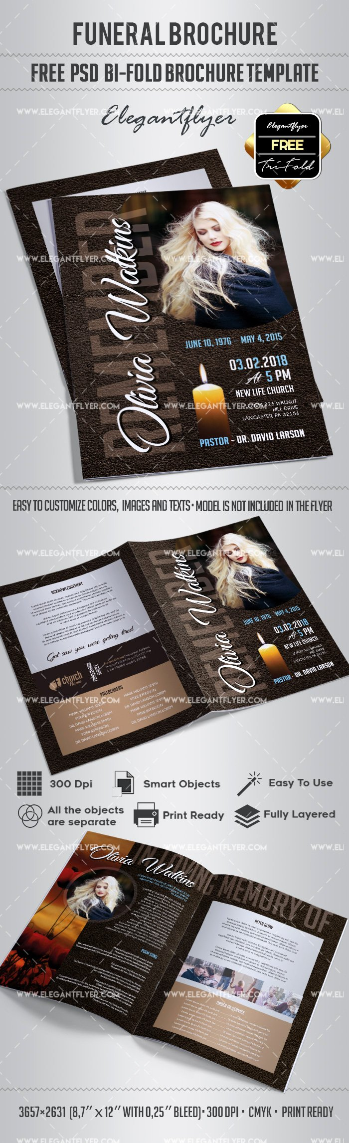 2 Folded Brochure Template Unique Free Bi Fold Brochure for Funeral – by Elegantflyer