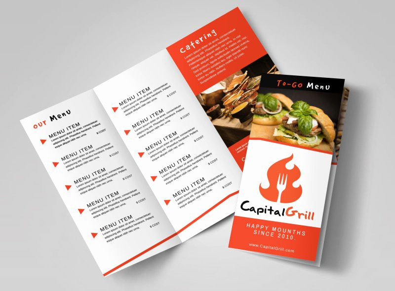 2 Folded Brochure Template Unique Restaurant Brochure Templates