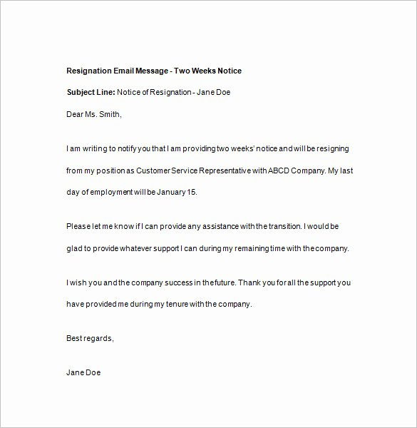 2 Weeks Notice Email Template Awesome 15 Two Weeks Notice Templates Google Docs Ms Word