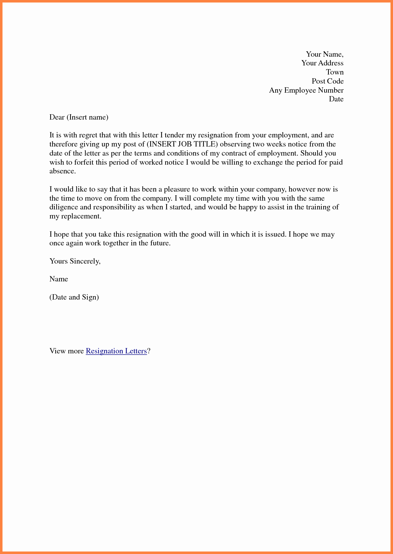 2 Weeks Notice Email Template Beautiful 3 Good 2 Week Notice Letters
