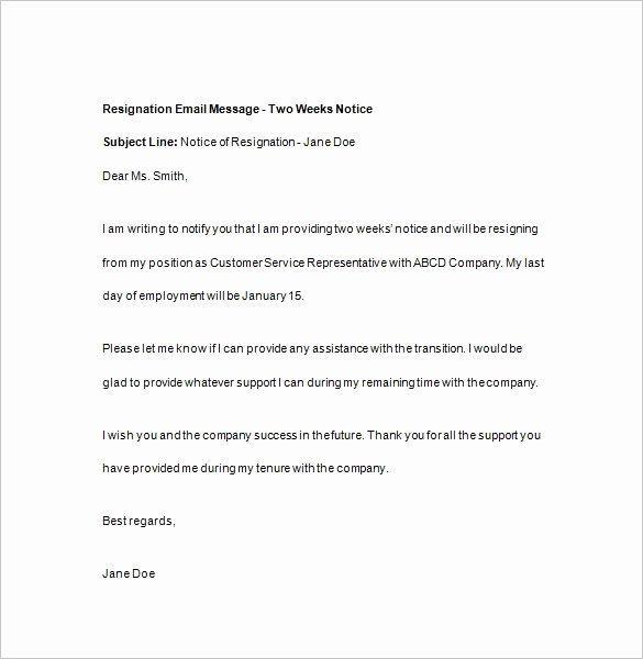 2 Weeks Notice Email Template Elegant 2 Weeks Notice Email Template