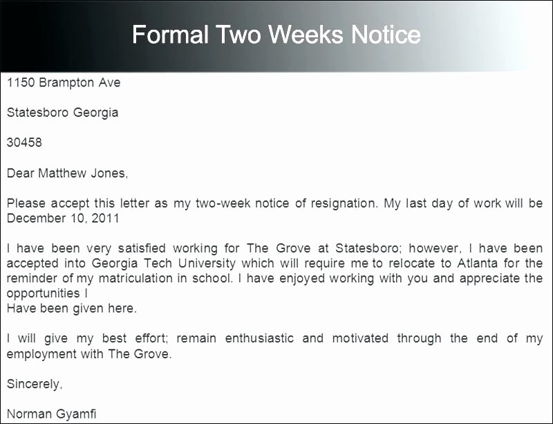 2 Weeks Notice Email Template Elegant Letter Resignation Template Best Examples Inside Simple