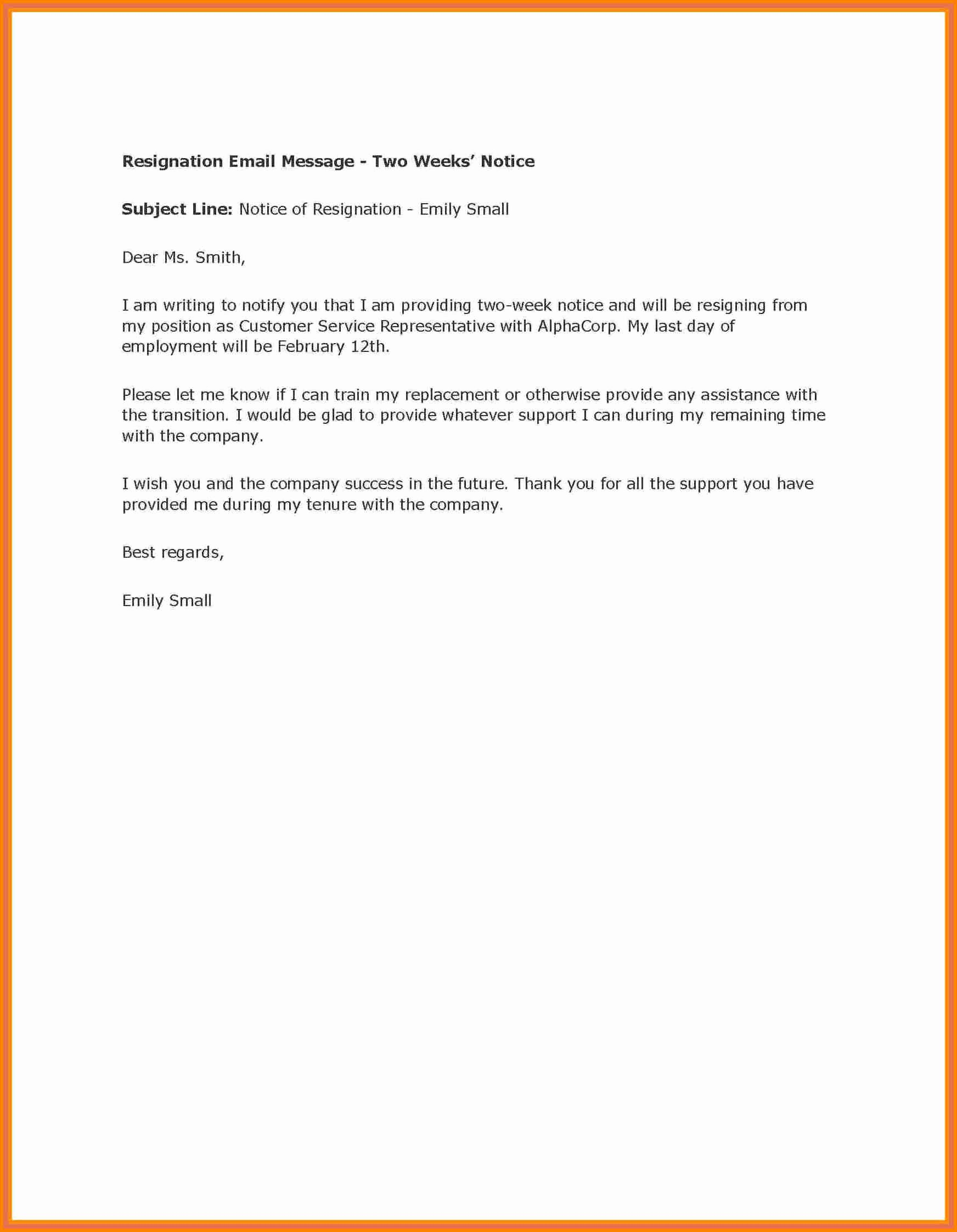 2 Weeks Notice Email Template Fresh 6 Example Of A Two Weeks Notice Letter