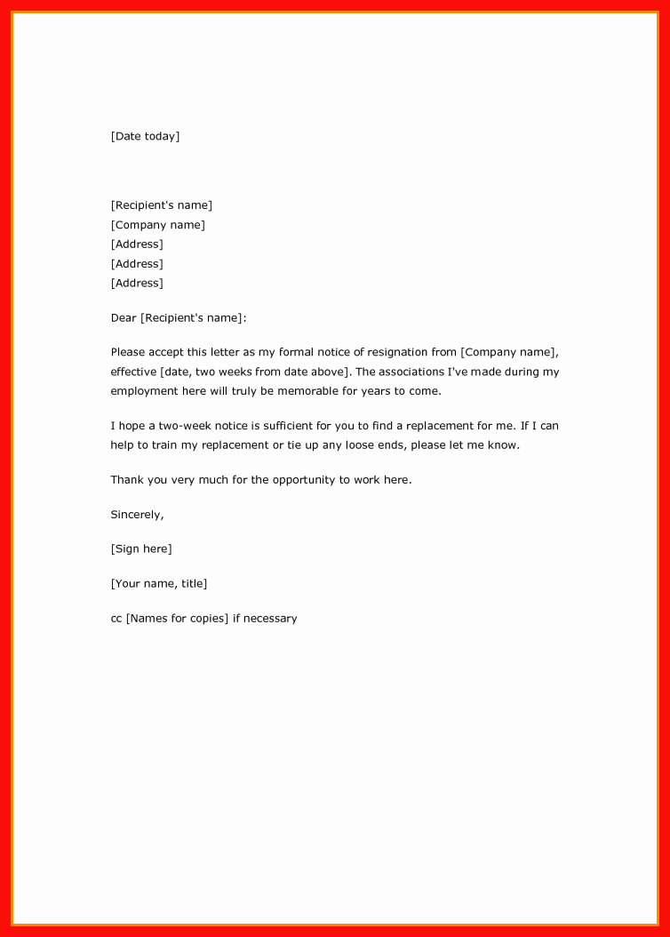 2 Weeks Notice Email Template Fresh Two Week Resignation Email