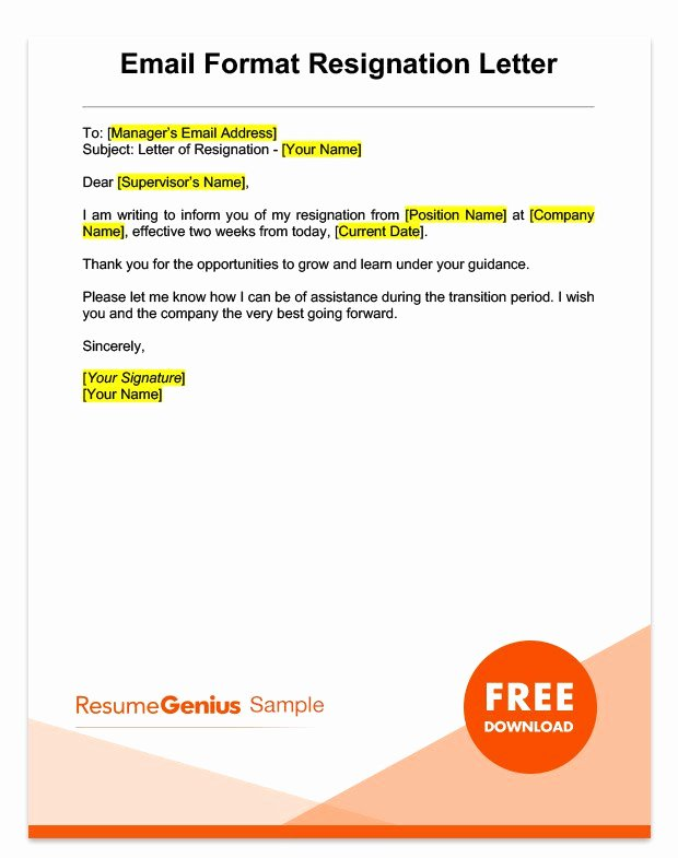 2 Weeks Notice Email Template Inspirational Two Weeks Notice Letter Sample Free Download