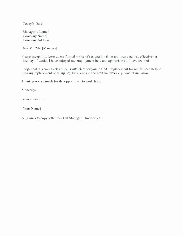 2 Weeks Notice Email Template Lovely 2 Weeks Notice Email format Hatch Co Week Example