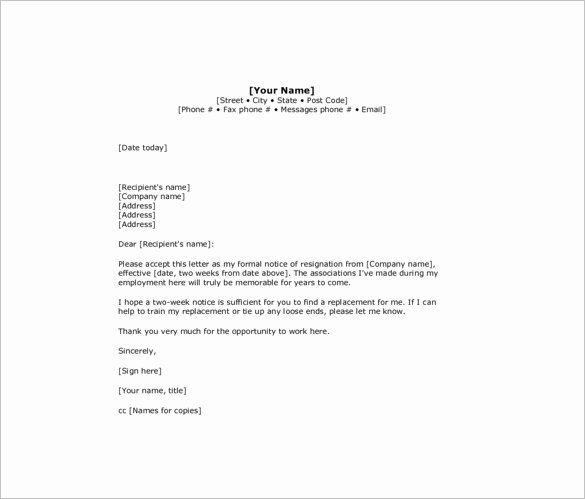 2 Weeks Notice Email Template Luxury 8 Two Weeks Notice Resignation Letter Templates Pdf