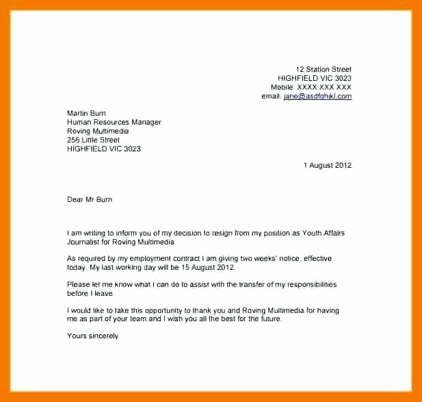 2 Weeks Notice Email Template Luxury Resignation Letter 2 Week Notice Email Leaving Job 1