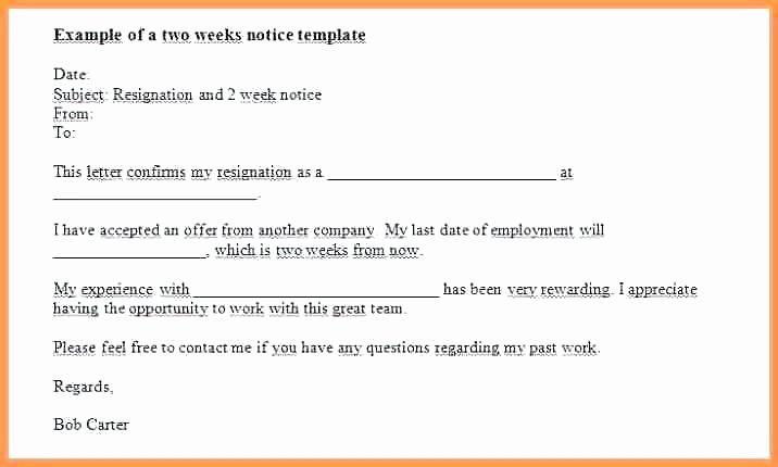 2 Weeks Notice Email Template New 15 Samples Of 2 Weeks Notice