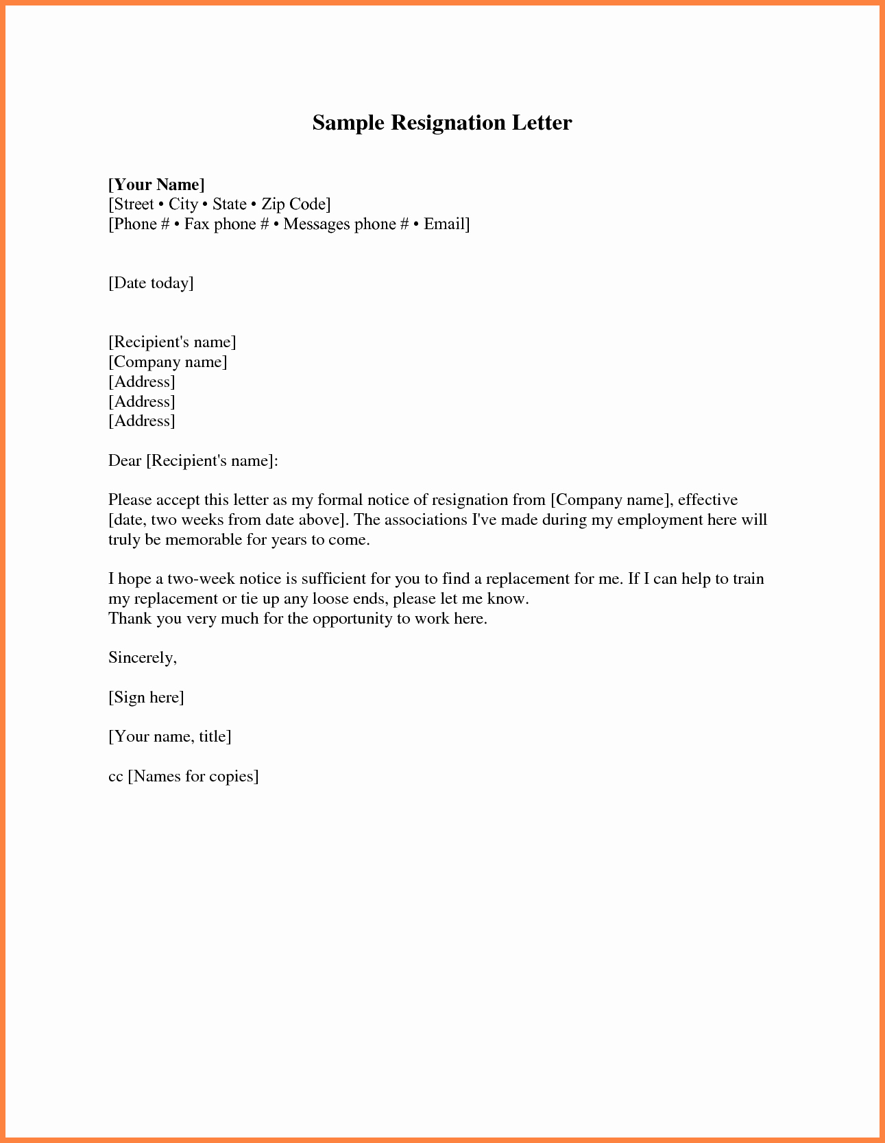 2 Weeks Notice Email Template New 7 Example Two Weeks Notice Email