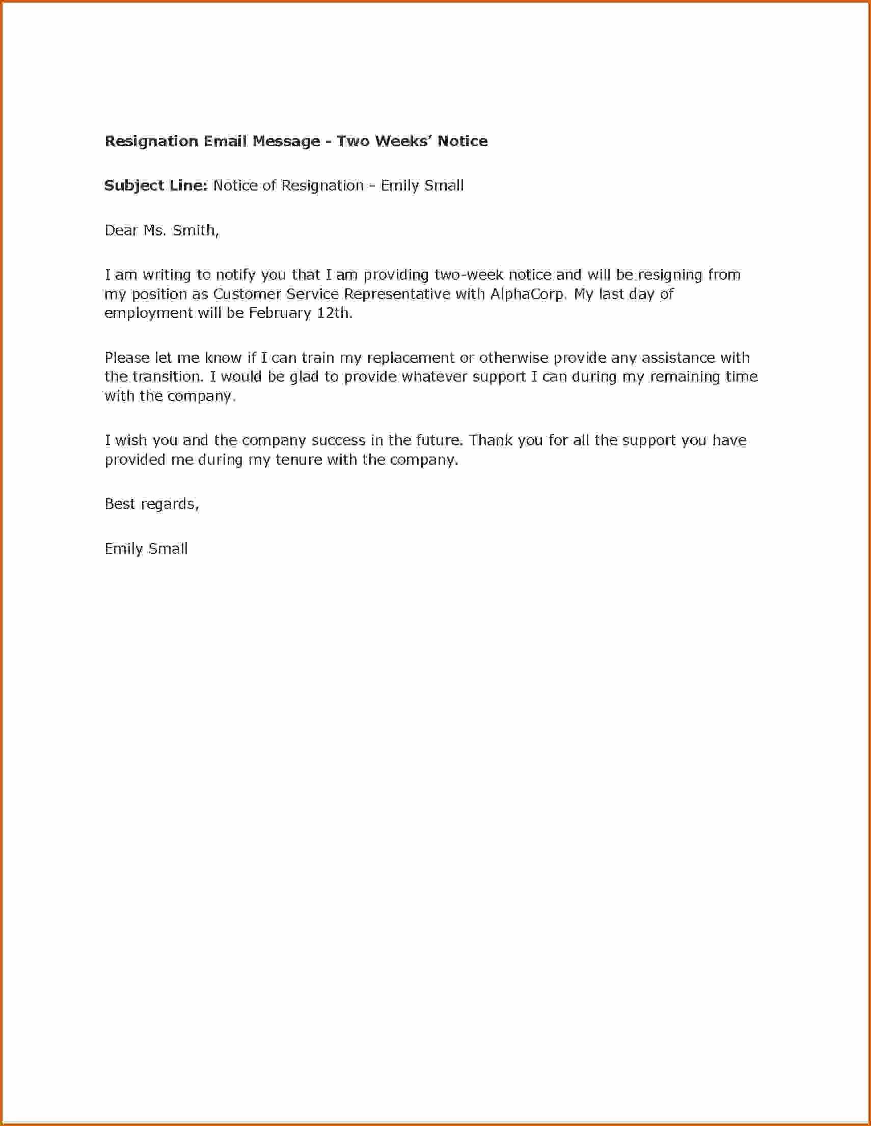 2 Weeks Notice Email Template Unique 10 How to Write A Notice Letter Example