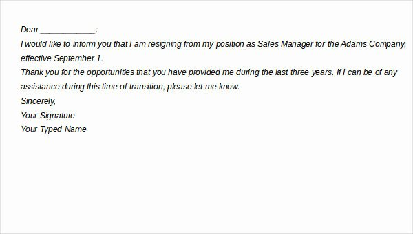 2 Weeks Notice Email Template Unique 6 Two Week Notice Email Samples
