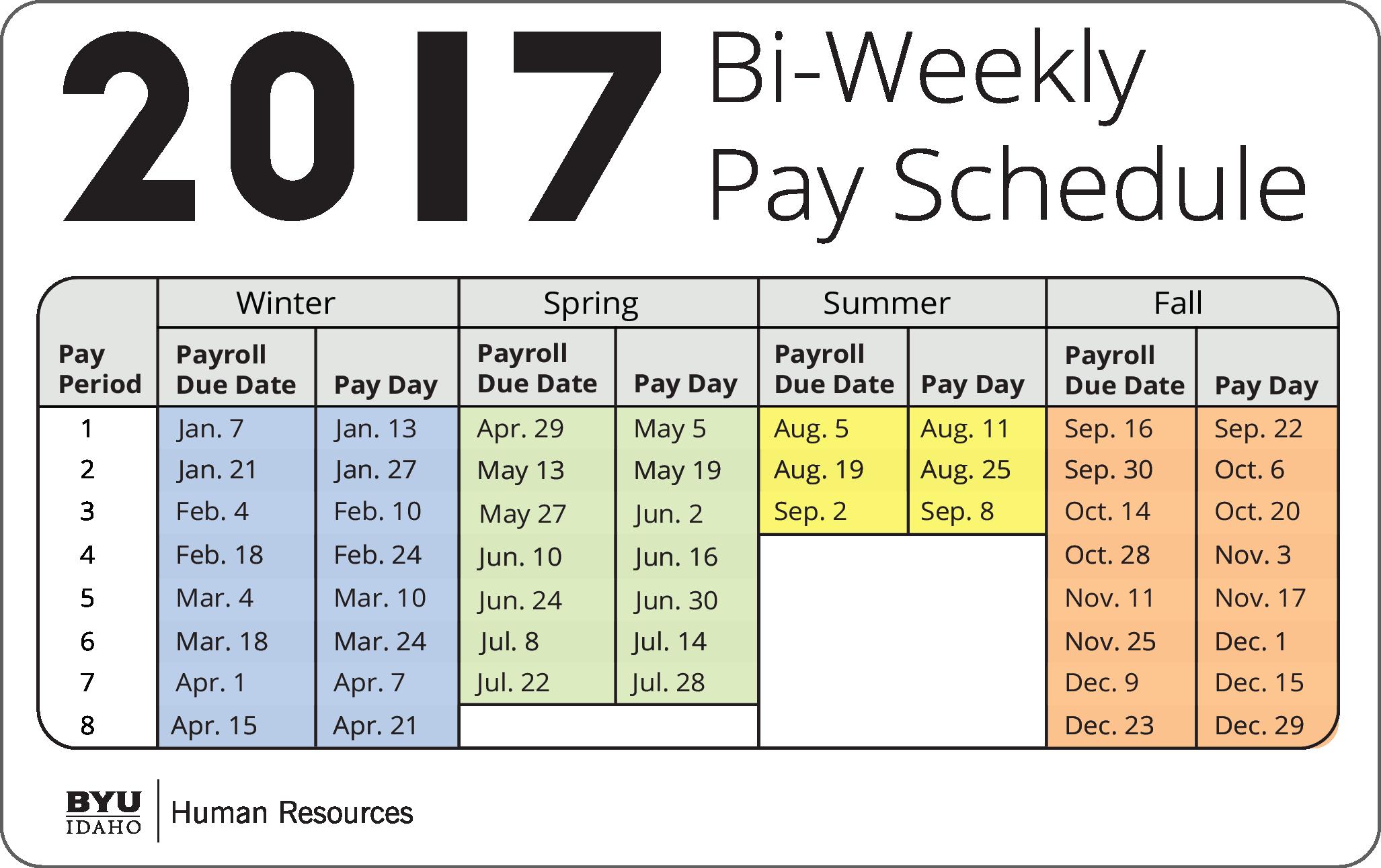 2017 Biweekly Payroll Calendar Template Beautiful December Bi Weekly Calendar 2017