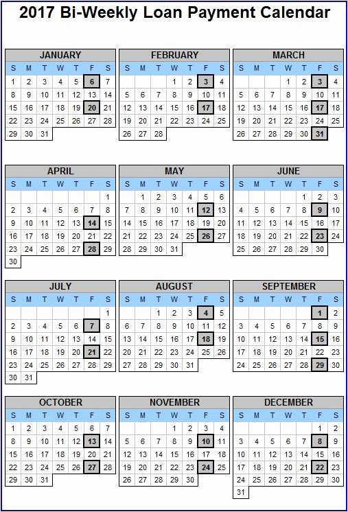 2017 Biweekly Payroll Calendar Template Beautiful See Your Bi Weekly Loan Payments for Your Putnam Bank