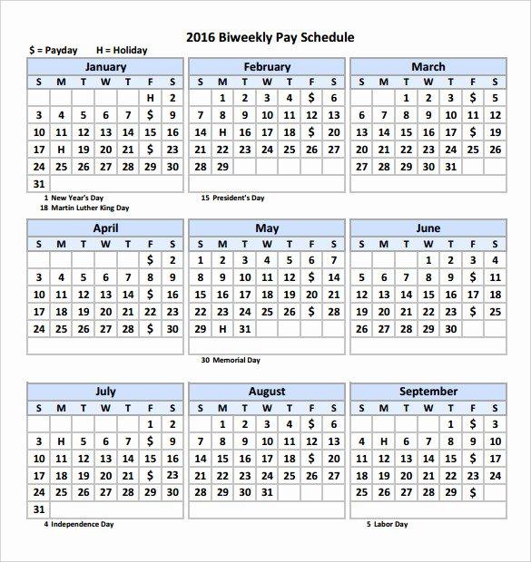 2017 Biweekly Payroll Calendar Template Best Of 2016 Bi Weekly Payroll Calendar Samples