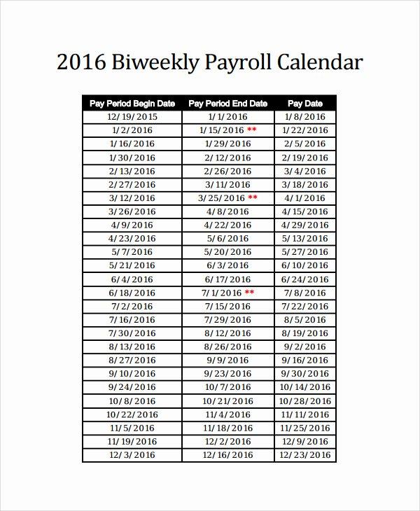 2017 Biweekly Payroll Calendar Template Elegant 2016 Bi Weekly Payroll Calendar Samples