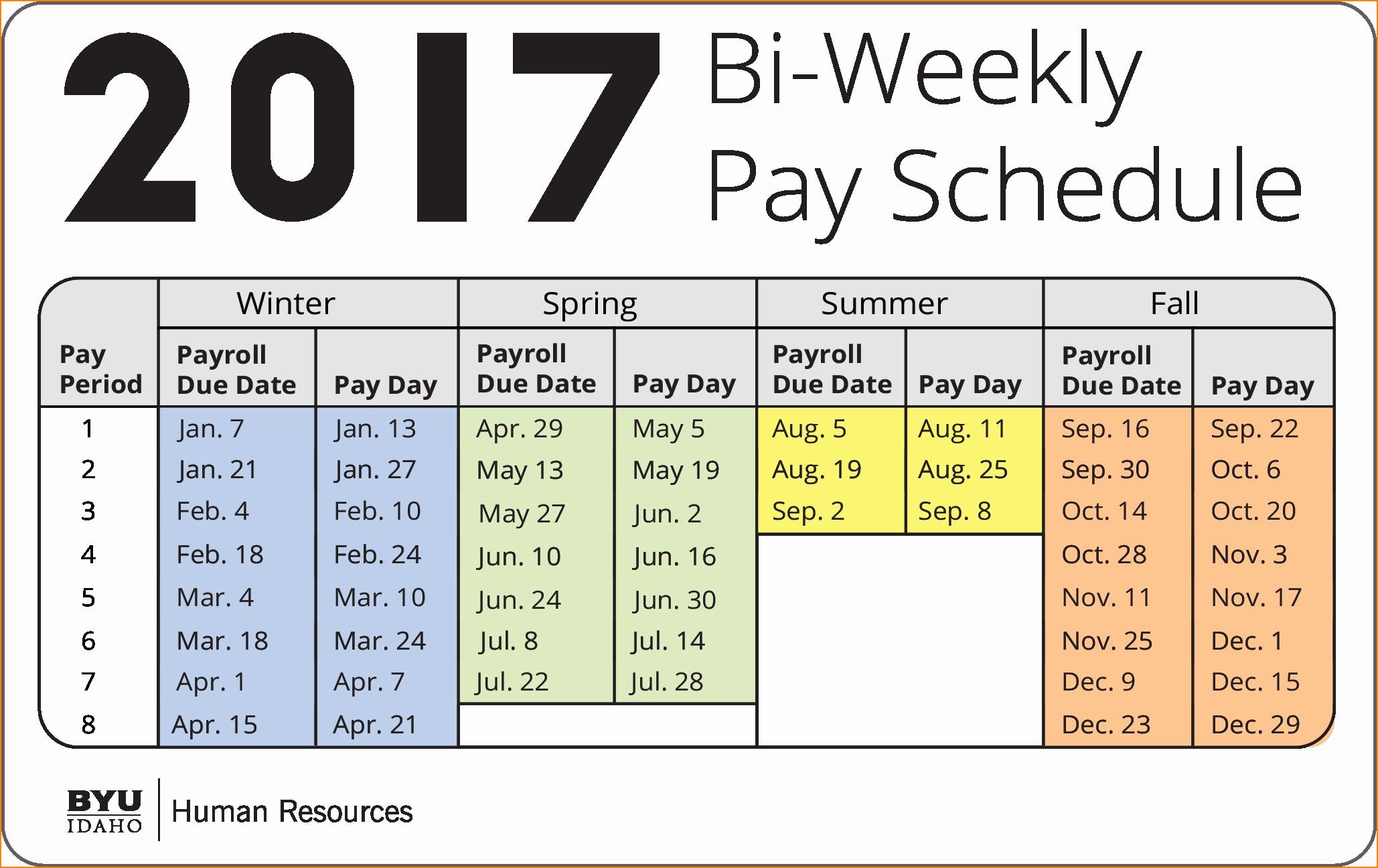2017 Biweekly Payroll Calendar Template Lovely 10 Biweekly Payroll Calendar Template 2017