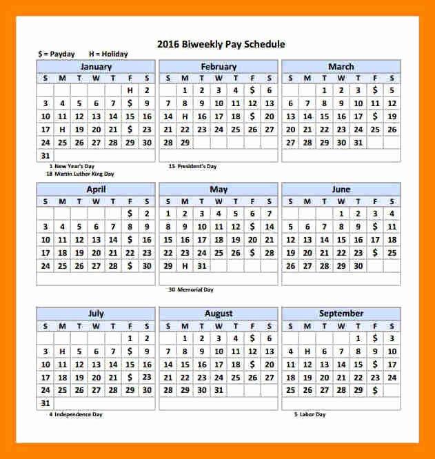 2017 Biweekly Payroll Calendar Template Lovely 6 2018 Biweekly Payroll Calendar Template