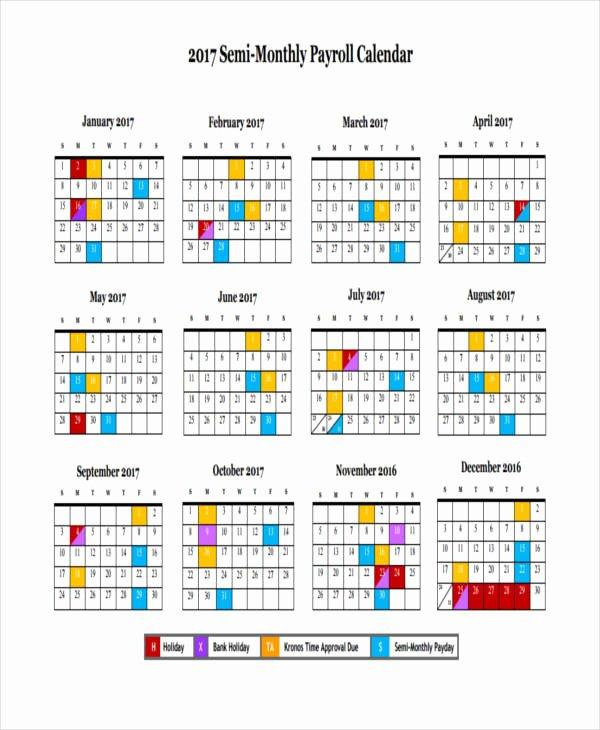 2017 Biweekly Payroll Calendar Template Luxury 7 Payroll Calendar Templates Sample Example
