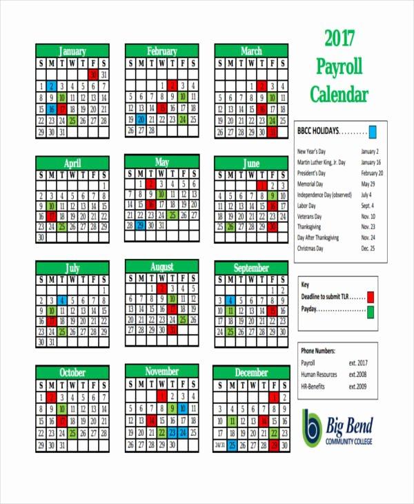 2017 Payroll Calendar Template Awesome 7 Payroll Calendar Templates Sample Example