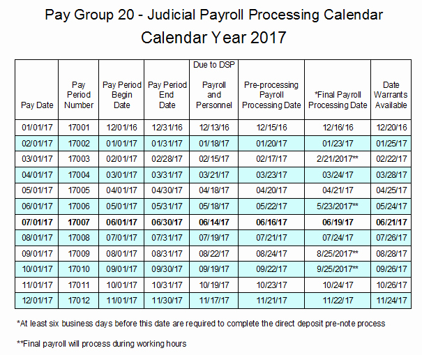 2017 Payroll Calendar Template Beautiful Pay Group 20 Judicial Payroll Processing Calendar 2017