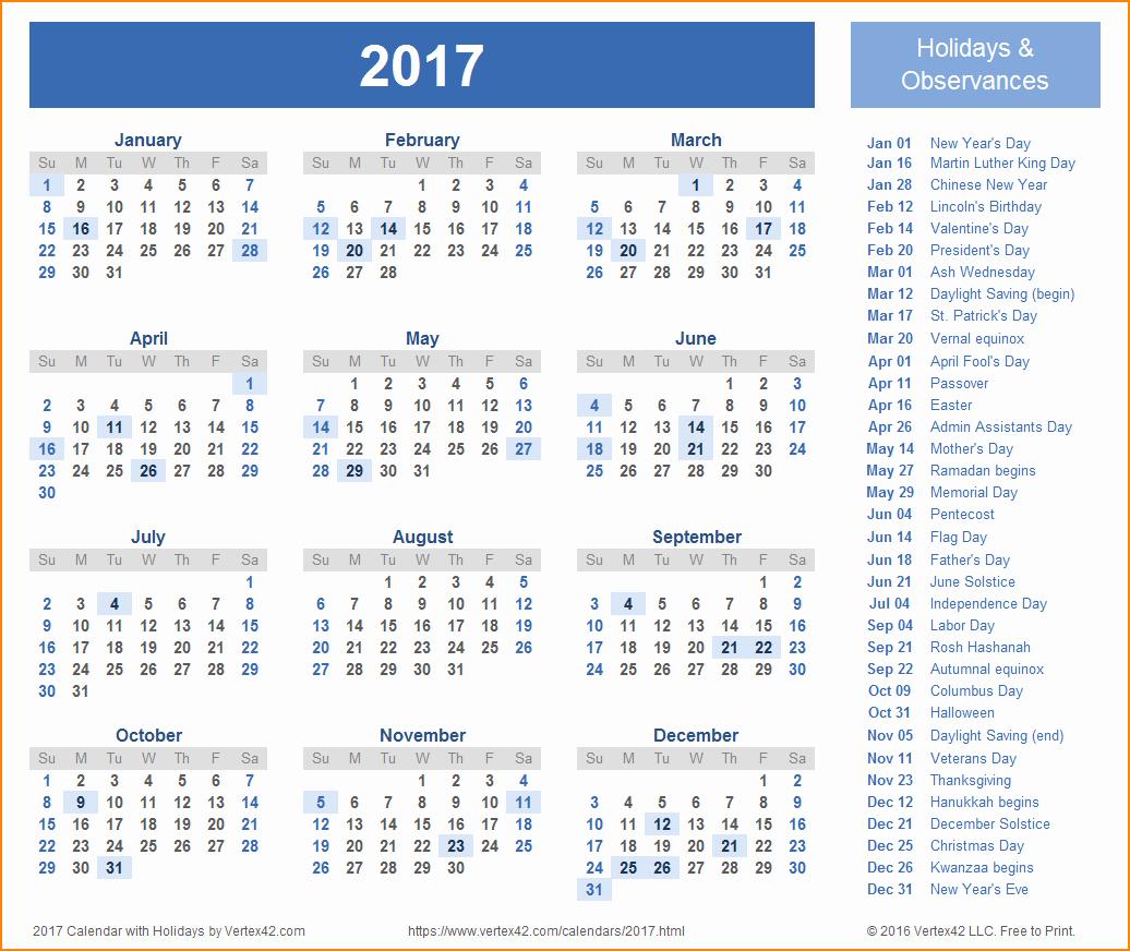 2017 Payroll Calendar Template New 12 Payroll Calendar Template 2017
