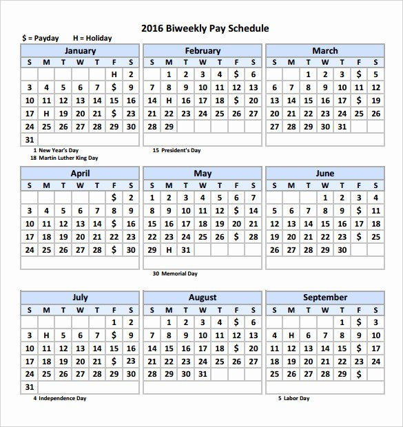 2017 Payroll Calendar Template Unique 2016 Bi Weekly Payroll Calendar Samples
