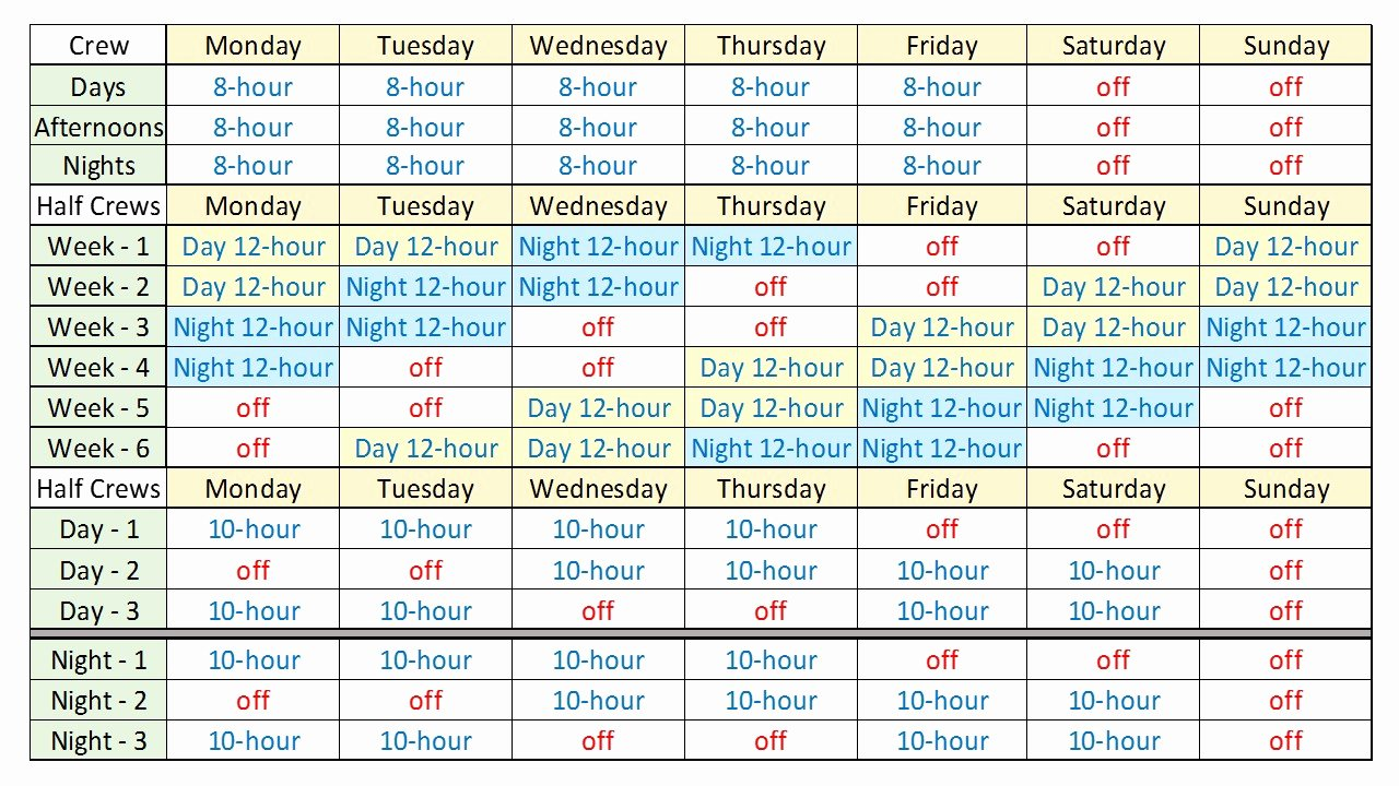 24 Hour Shift Schedule Template Inspirational 24 7 Shift Schedule Template