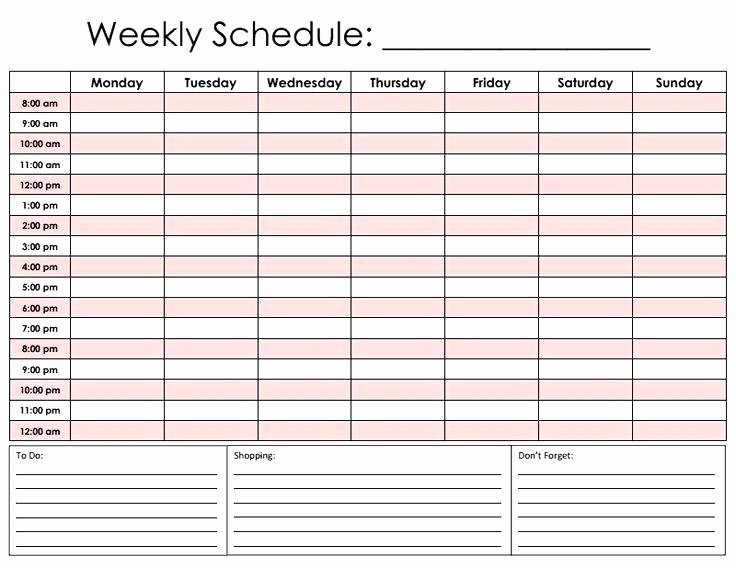 24 Hour Weekly Schedule Template Elegant 24 Hour Schedule Template Download Employee Work Blank
