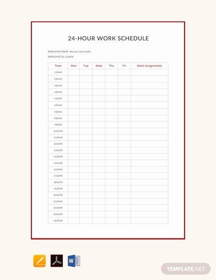 24 Hr Schedule Template Luxury Free 24 Hour Work Schedule Template Download 172