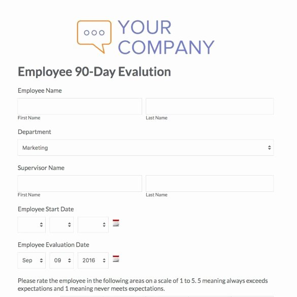 30 Day Employee Review Template Awesome 90 Day Review Template