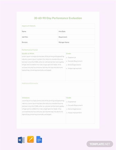 30 Day Review Template Elegant Free 30 60 90 Day Job Success Sheet Template Download 230