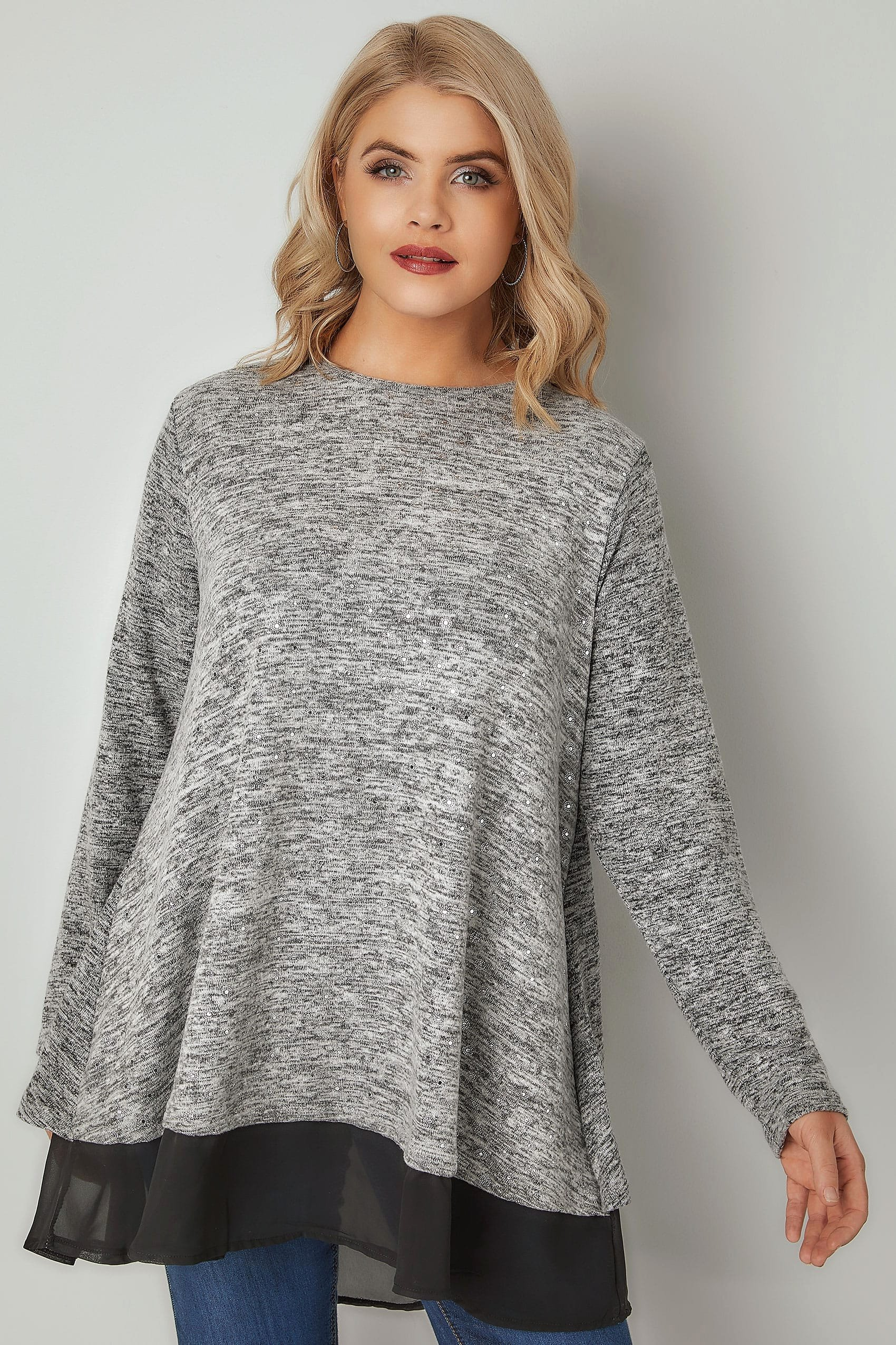 30 Day Review Template Luxury Grey Foil Print Knitted top with Split Back & Chiffon