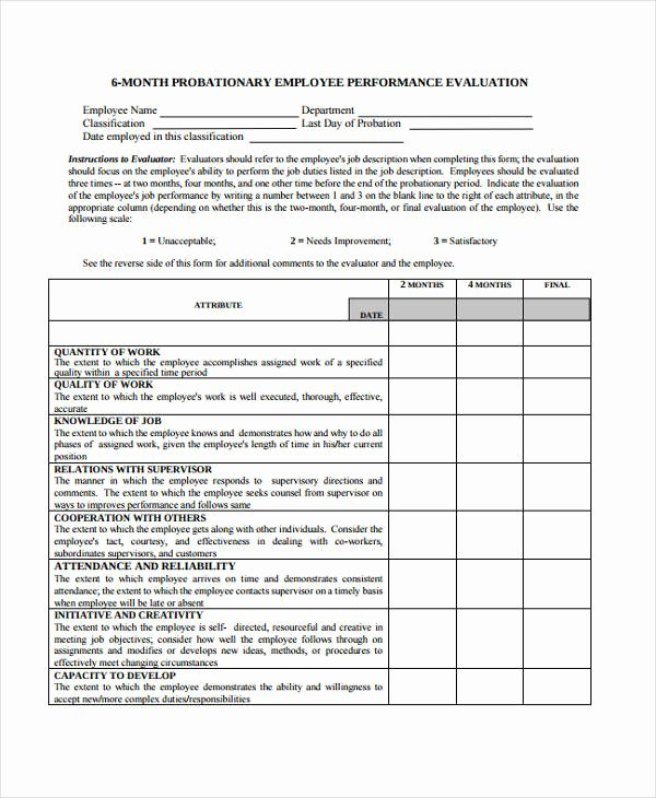 30 Day Review Template New Employee Evaluation form