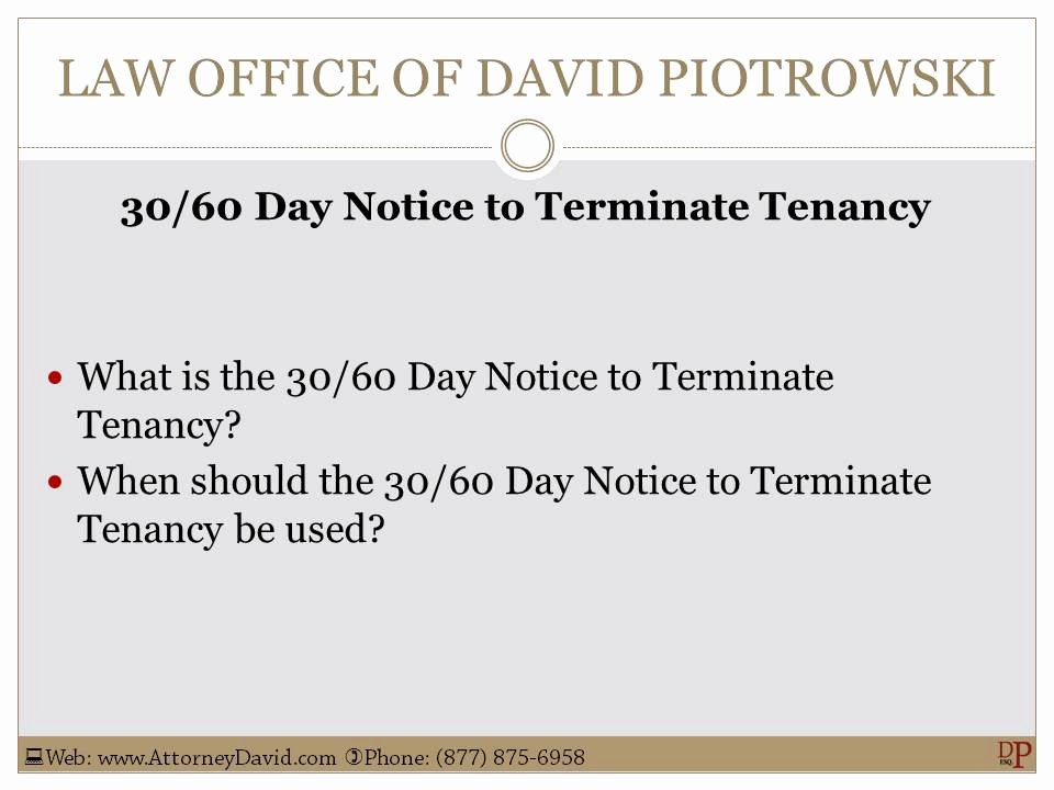 30 Day Review Template Unique California 30 60 Day Notice to Terminate Tenancy Sample