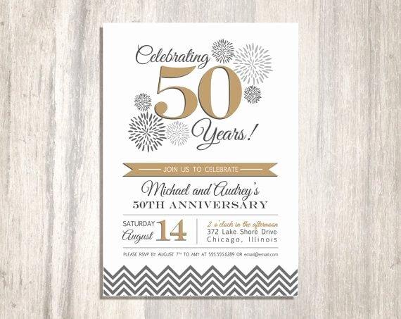 50th Wedding Anniversary Invitation Template Awesome 50th Wedding Anniversary Printable Invitation