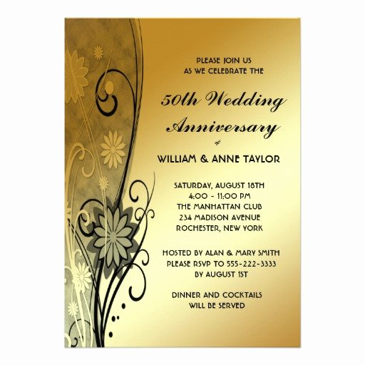 "50th Wedding Anniversary Invitation Template Beautiful Gold Flower Swirls 50th Anniversary Invitations 5"" X 7"