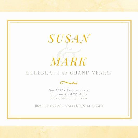 50th Wedding Anniversary Invitation Template Beautiful White and Gold Simple 50th Wedding Anniversary Invitation