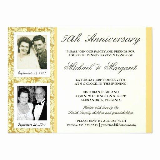 50th Wedding Anniversary Invitation Template Elegant 50th Anniversary Invitations then & now S